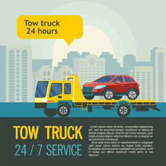Tow truck for transportation faulty cars. Vector illustration with place for text. Evacuation of cars in the city 24 hours 7 days a week.