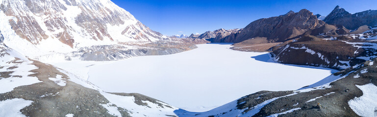 Tilicho Lake Snow Covered Aerial View Himalayas