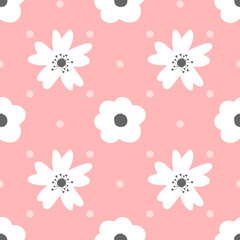 Cute flowers and polka dot. Seamless pattern for girls.