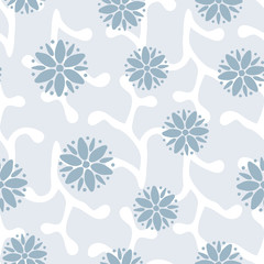 Seamless pattern with abstract round flowers. Blue and white color.
