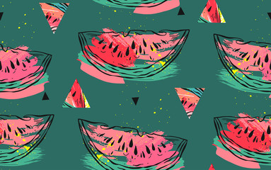 Hand drawn vector abstract collage seamless pattern with watermelon motif,triangle hipster shapes and artistic freehand textures isolated on green background