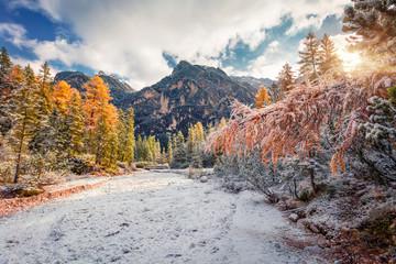 First snow in Naturpark Fanes-Sennes-Prags.