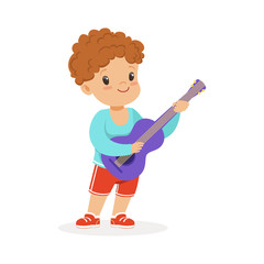 Cute little boy playing guitar, young musician with toy musical instrument, musical education for kids cartoon vector Illustration
