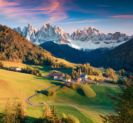 Magnificent view of Santa Maddalena village in front of the Geisler or Odle Dolomites Group