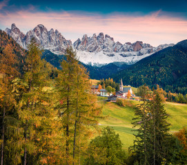 Magnificent view of Santa Maddalena village in front of the Geisler or Odle Dolomites Group.