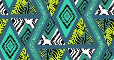 Hand drawn vector abstract freehand textured seamless tropical pattern collage with zebra motif,organic textures,triangles isolated on green background.