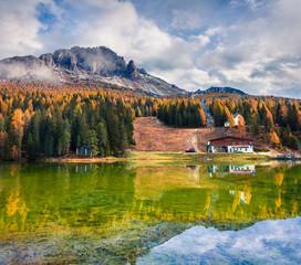 Sunny morning scene on Misurina lake in National Park Tre Cime di Lavaredo