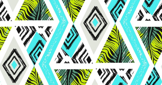 Hand drawn vector abstract freehand textured seamless tropical pattern collage with zebra motif,organic textures,triangles isolated on white background