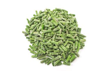 Frozen green beans vegetable (haricot vert) isolated on white
