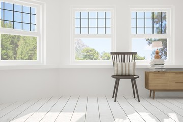 White empty room with chair and summer landscape in window. Scandinavian interior design. 3D illustration