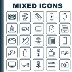 Hardware Icons Set. Collection Of Charge, Extension Cord, Printer And Other Elements. Also Includes Symbols Such As Camera, Sputnik, Extension.