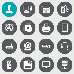 Set Of 16 Laptop Icons Set.Collection Of Diskette, Display, Notebook And Other Elements.
