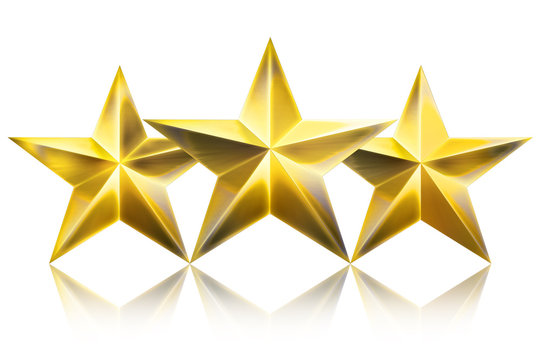 Three Golden Star award isolated on white Background. Top View Close-Up Gold Star. Star Award. 3D illustration.