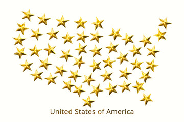 United States of America map of fifty gold stars isolated on white background. 3D illustration.