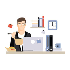 Young businessman character eating fast food at his office workplace, daily life of office employee, working moment at office vector Illustration