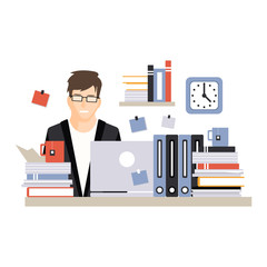 Young busy businessman character sitting at the computer desk with laptop and working hard, daily life of office employee vector Illustration