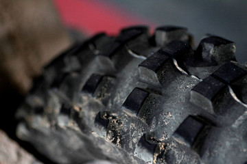 The tyre of a dirt bike is seen in Singapore