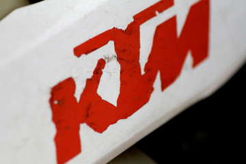 The KTM logo is seen on a dirt bike in Singapore