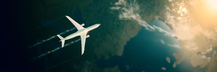 Flugzeug fliegt hoch über den Wolken über Kontinent