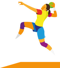 Young thin woman  is player in handball, attacking in a jump