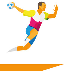A young male athlete is a player in a handball player who throws the ball in a jump