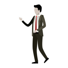 businessman faceless in suit and white background