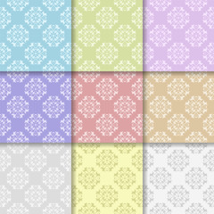 Wallpaper multi colored set of seamless patterns with floral ornaments