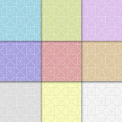 Collection of colored geometric seamless patterns