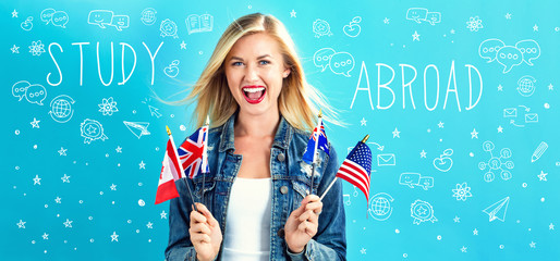 Study Abroad text with young woman with flags of English speaking countries