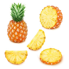 Pineapple set: whole and sliced pineapples.