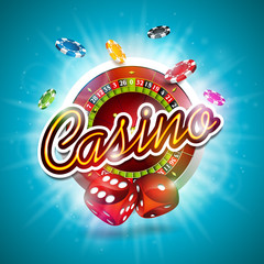 Vector illustration on a casino theme with color playing chips, roulette wheel and red dices on blue background.