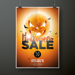 Halloween Sale vector poster template illustration with moon and bats on orange sky background. Design for offer, coupon, banner, voucher or promotional poster