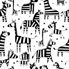 Zebra family, sketch for your design