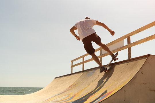 guy skateboarder riding a ramp