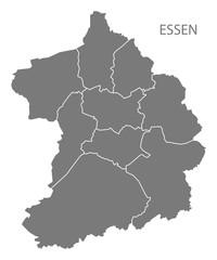 Essen city map with boroughs grey illustration silhouette shape