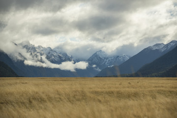 Snowcapped mountain range at Milford sound