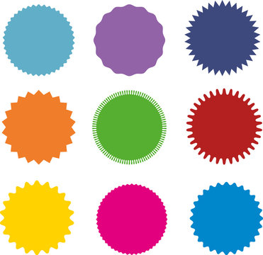 Set of vector starburst, sunburst badges. Nine different color. A collection of different types and colors icon.