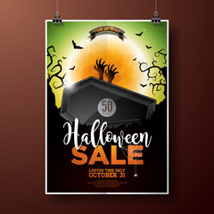 Halloween Sale vector illustration with coffin, zombie hand, bats, monn and Holiday elements on green background. Design for offer, coupon, banner, voucher or promotional poster