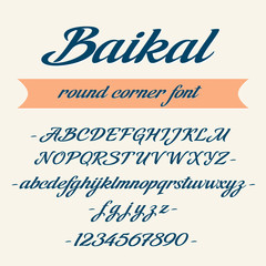 Baikal alphabet lettering. Vector font