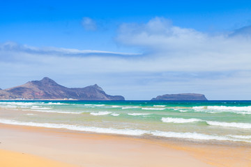 Sandy beach of the island of Porto Santo