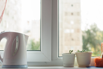 Kettle and pots with flowers on the windowsill,