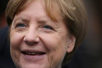 German Chancellor Angela Merkel visits Karl's Adventure Village in Roevershagen