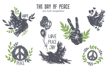 International day of peace graphic set. Wall mural