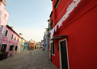 Big red house on the island of Burano near Venice