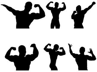 set athletes bodybuilders black silhouette. vector illustration