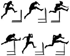 Set athletics running hurdles black silhouette. vector illustration