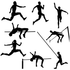 set track and field sports jumping black silhouette