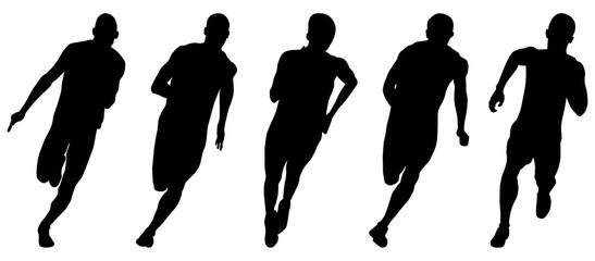 set athletics runners sprinters running black silhouettes