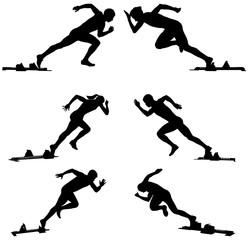 set athletics runners sprinters starting blocks
