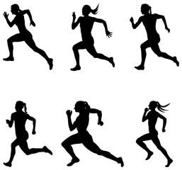 set sprint woman runners running vector illustration